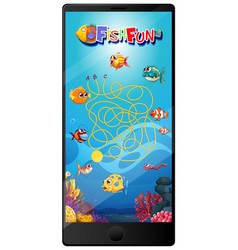 underwater fish game on tablet screen vector image