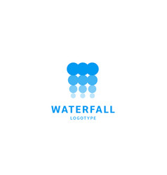 waterfall icon water abstract logo template blue vector image
