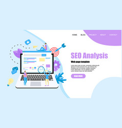 webpage template seo analysis with search vector image