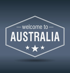 Welcome to Australia hexagonal white vintage label vector