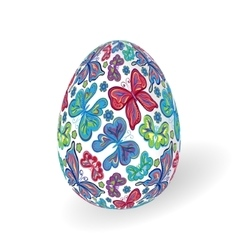 White isolated ornate realistic egg with vector image