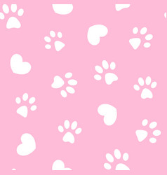 White paws and hearts on pink seamless pattern vector
