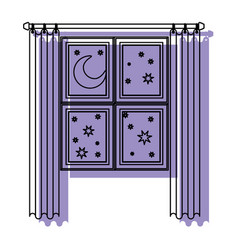 Window in wooden with curtain and night landscape vector