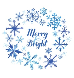 Winter Christmas Card - Snowflakes in Watercolor vector image