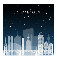 winter night in stockholm night city vector image