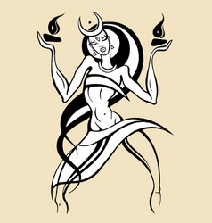 woman dancing with fire vector image