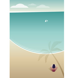 woman reading on a lonely beach under the shade vector image