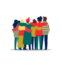 Young people friend group hug in winter season vector