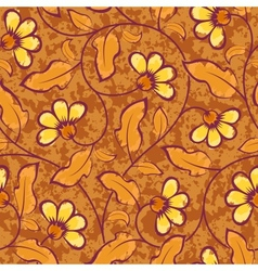 abstract yellow flowers brown seamless background vector image vector image