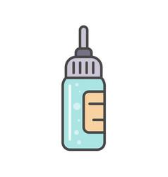 bottle with liquid medicine linear icon vector image vector image
