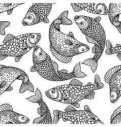 Seamless pattern with decorative fish Background vector image