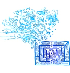 Blue maze with doodles vector image vector image