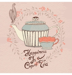 Invitation card tea cup and teapot vector image