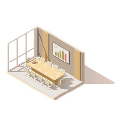 isometric low poly office conference room vector image vector image