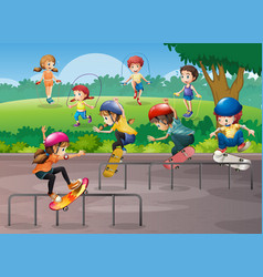 kids playing different sports in park vector image