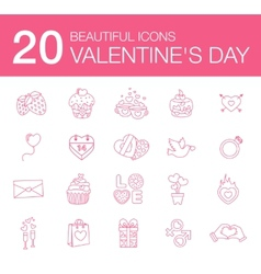 modern flat icons for Valentines Day vector image vector image