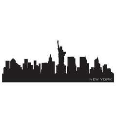 new york skyline detailed silhouette vector image vector image