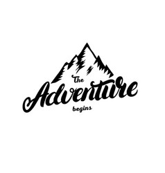 the adventure begins hand written lettering vector image vector image