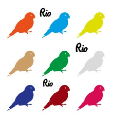 colors parrots icons symbol and Rio text eps10 vector image vector image