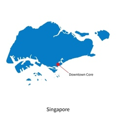 Detailed map of Singapore and capital city vector image vector image