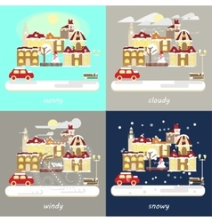 Four types of different winter weather vector image