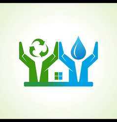 hand with water drop and recycle icon make a home vector image