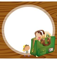 kids and school bag vector image vector image