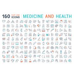Set flat line icons medecine and health vector