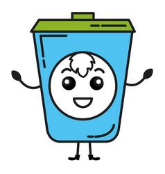 Ecology recycle bin kawaii character vector