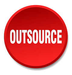 outsource red round flat isolated push button vector image vector image
