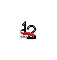 12 years anniversary logotype flat black color vector