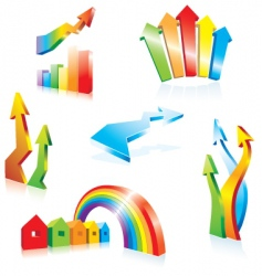 3d arrows collection vector image