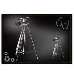 3d model tripod and camcorder on a black vector image