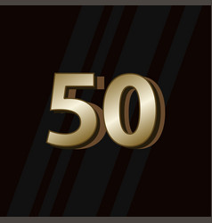 50 years anniversary gold elegant number template vector