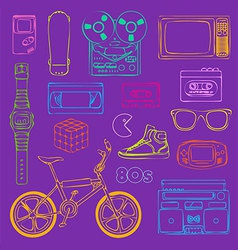 80s retro outline vector