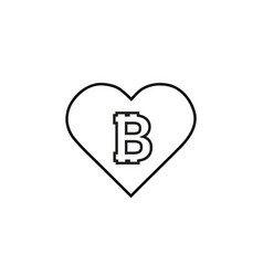 a long shadow heart with a bitcoin vector image