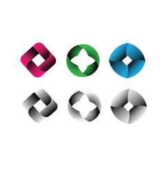 abstract shapes logo designs icon set vector image