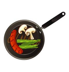 Aerial view food on pan vector