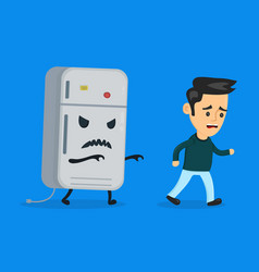 angry evil refrigerator runs after vector image