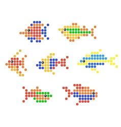 Aquarium and sea fish symbols vector