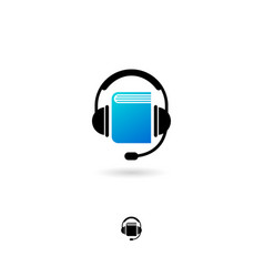 audio book icon online electronic headphones vector image