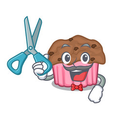 Barber chocolate muffins on cartoon cake paper vector