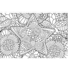 beautiful coloring book page with decorative star vector image