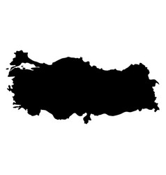 Black silhouette country borders map of turkey on vector