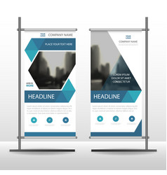 blue hexagon business roll up banner flat design vector image
