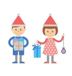 Boy and girl with Christmas gifts vector image