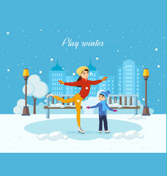 boy ride on the ice mom shows master class vector image