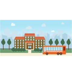 Bright flat of school building and vector