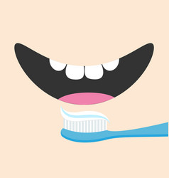 brushing teeth toothbrush with toothpaste mouth vector image