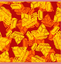 Bulldozer army orange pattern seamless grader vector